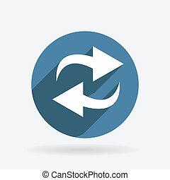 azul, update., círculo, sombra, icono