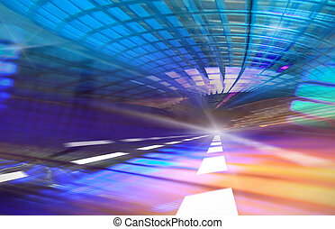 azul, urbano, illustration., túnel, resumen, light., movimiento velado, plano de fondo, generar, computadora, camino, hacia, velocidad, futurista, carretera