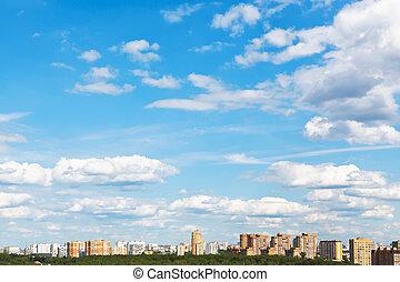 azul, urbano, nuvens, macio, céu, rua, sob