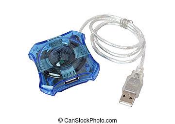 azul, usb, cubo, aislado, cuatro, puerto