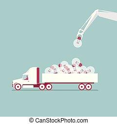 azul, uso, luz, isolado, experiência., caminhão, crane., cargas, bulb.