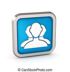 azul, usuario, grupo, tela, icono, en, un, fondo blanco