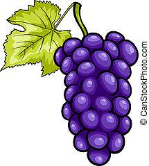 azul, uvas, fruta, caricatura, ilustración