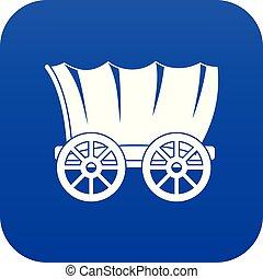 azul, vagão, antiga, ocidental, digital, coberto, ícone