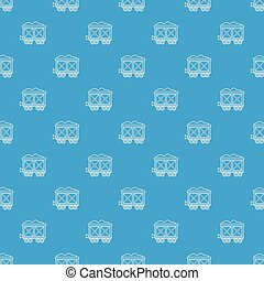 azul, vagão, padrão, seamless, vetorial, estrada ferro