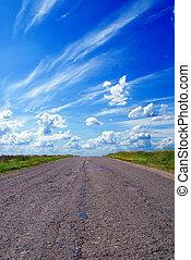 azul, vazio, estrada, céu, acima
