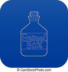 azul, vector, botella, etanol, icono