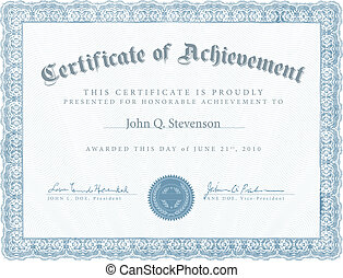 azul, vector, certificado, logro