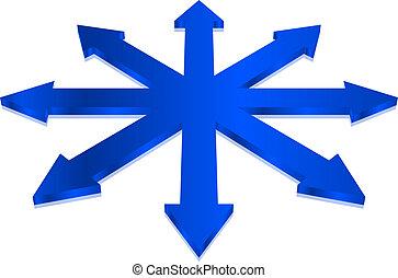 azul, vector, flechas, ilustración