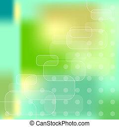 azul, vector, fondo verde