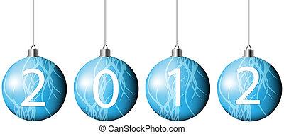 azul, vector, navidad, pelotas, 2012