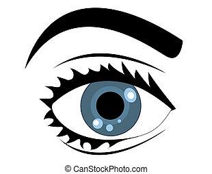azul, vector, ojo