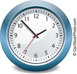 azul, vector, reloj