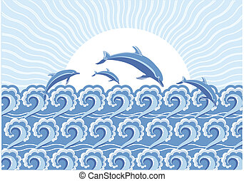 azul, vector, sol, saltar, mar, día, delfines