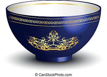 azul, vector, tazón, ilustración