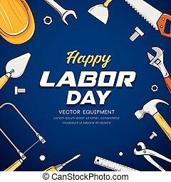 azul, vector, trabajo, equipo, construcción, diseño, día, plano de fondo, feliz