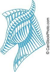 azul, vectorized, esboço, cavalo, tinta