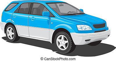 azul, vehículo de la utilidad de los deportes