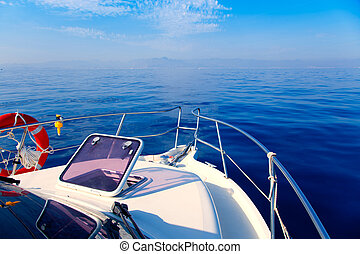 azul, velejando, arco, mar, porthole, abertos, bote