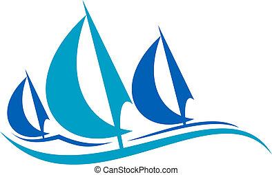 azul, velejando, sobre, stylized, ondas, barcos
