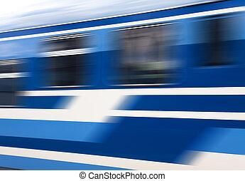 azul, velocidade, trem, movimento
