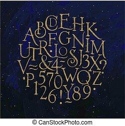 azul, vendimia, alfabeto