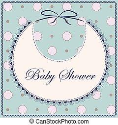 azul, vendimia, babero, ducha, bebé