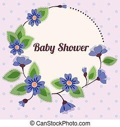 azul, vendimia, ducha, floral, bebé, bandera, redondo