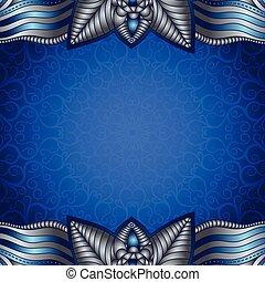 azul, vendimia, marco, patrón, plateado