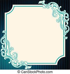 azul, vendimia, marco, rococó
