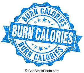 azul, vendimia, quemadura, calorías, aislado, sello