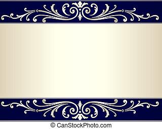 azul, vendimia, rúbrica, fondo beige, plata