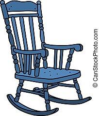 azul, vendimia, silla, mecedor