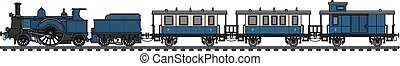 azul, vendimia, tren, vapor