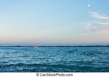 azul, venecia, tarde, san, encima, cielo, marco, palangana
