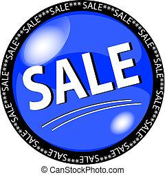 azul, venta, botón