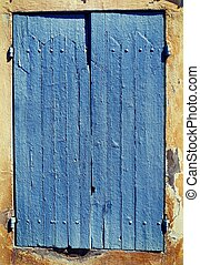 azul, ventana, viejo, shutters.