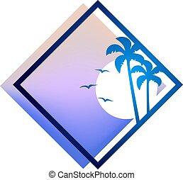 azul, verão, agradável, praia, ícone