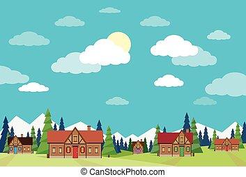 azul, verão, céu, casas, verde, vila, capim, paisagem