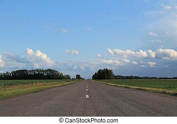 azul, verão, céu, estrada, acima