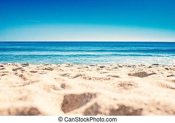 azul, verão, conceito, férias, onda, praia., oceânicos, arenoso