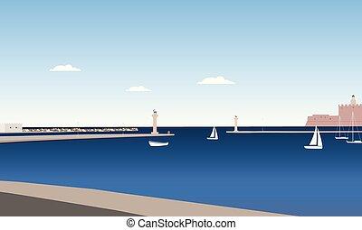 azul, verão, estátuas, ilha, mar, sob, céu, costa, veado, mouro, rhodes, nuvens, colunas