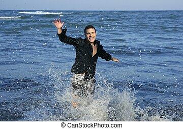 azul, verão, executando, homem, praia, feliz