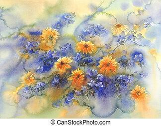 azul, verão, flores, aquarela, amarela