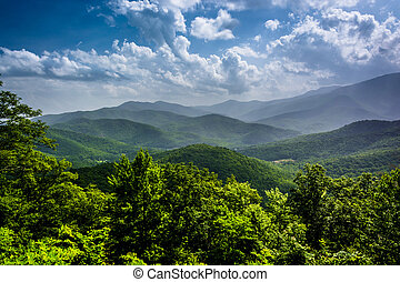 azul, verão, montanhas, ridg, appalachian, nebuloso, vista