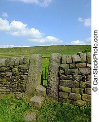 azul, verão, pedra, estreito, prado, parede, stile, capim, céu, secos, yorkshire, encosta, luminoso, passos, portão, vales, sunlit, ou