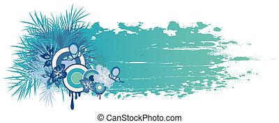 azul, verão, plantas, bandeira, tropicais