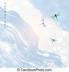 azul, verão, sumi-e, sky., go-hua., tradicional, oriental, pintura tinta, u-sin, libélulas