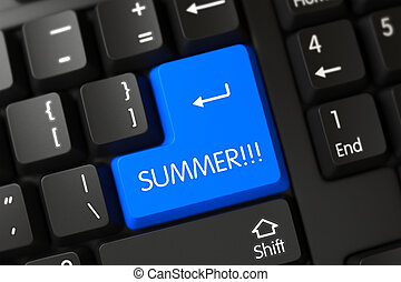 azul, verano, botón, en, keyboard., 3d.