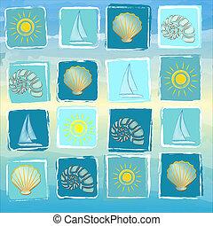 azul, verano, conchas, resumen, amarillo, conchs, soles,...